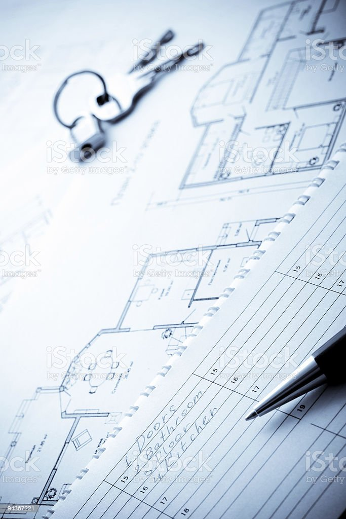 blueprints, planing notepad, pen and keys royalty-free stock photo