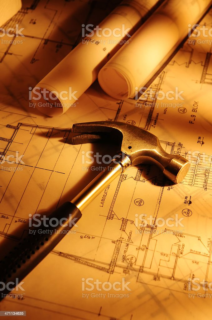 Blueprints with Yellow Light royalty-free stock photo