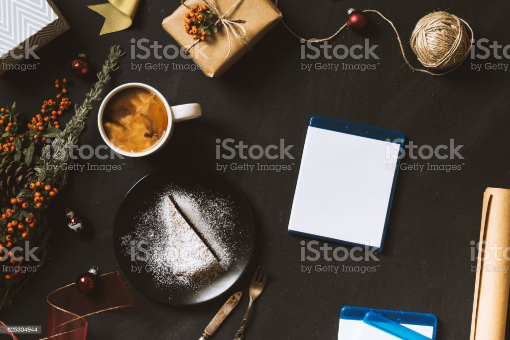 Blue-ray movies for Christmas, flat lay table top shot stock photo