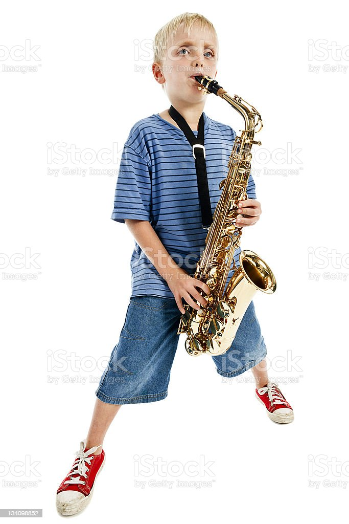 Blues boy playing saxophone royalty-free stock photo