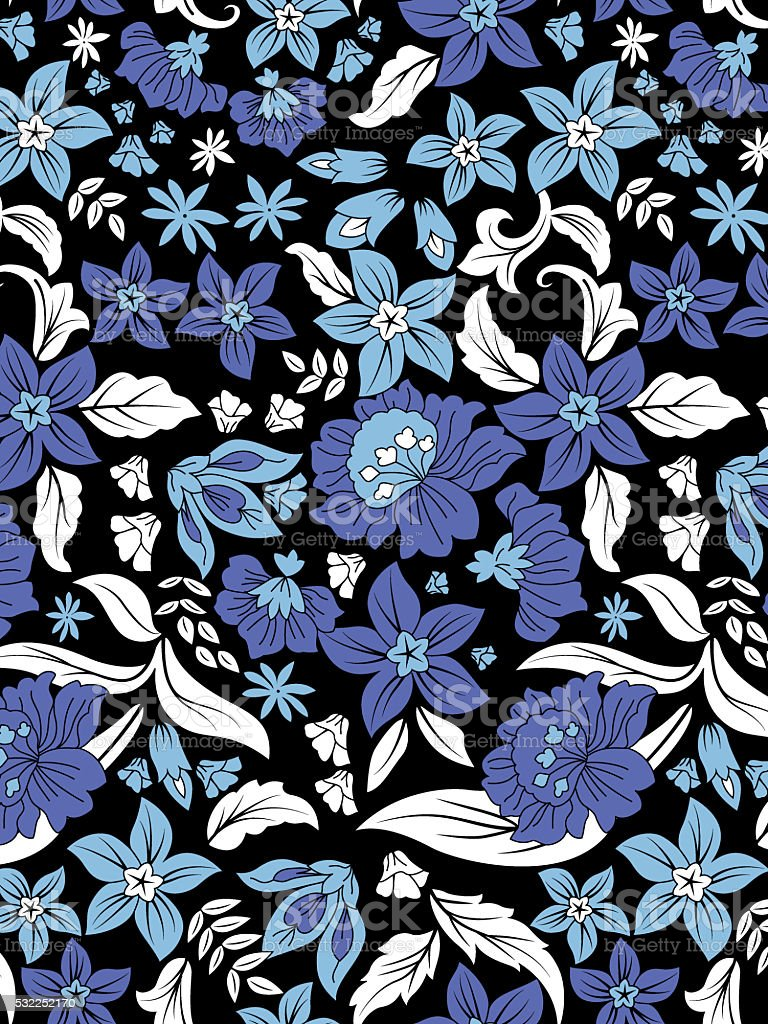 blues floral pattern stock photo
