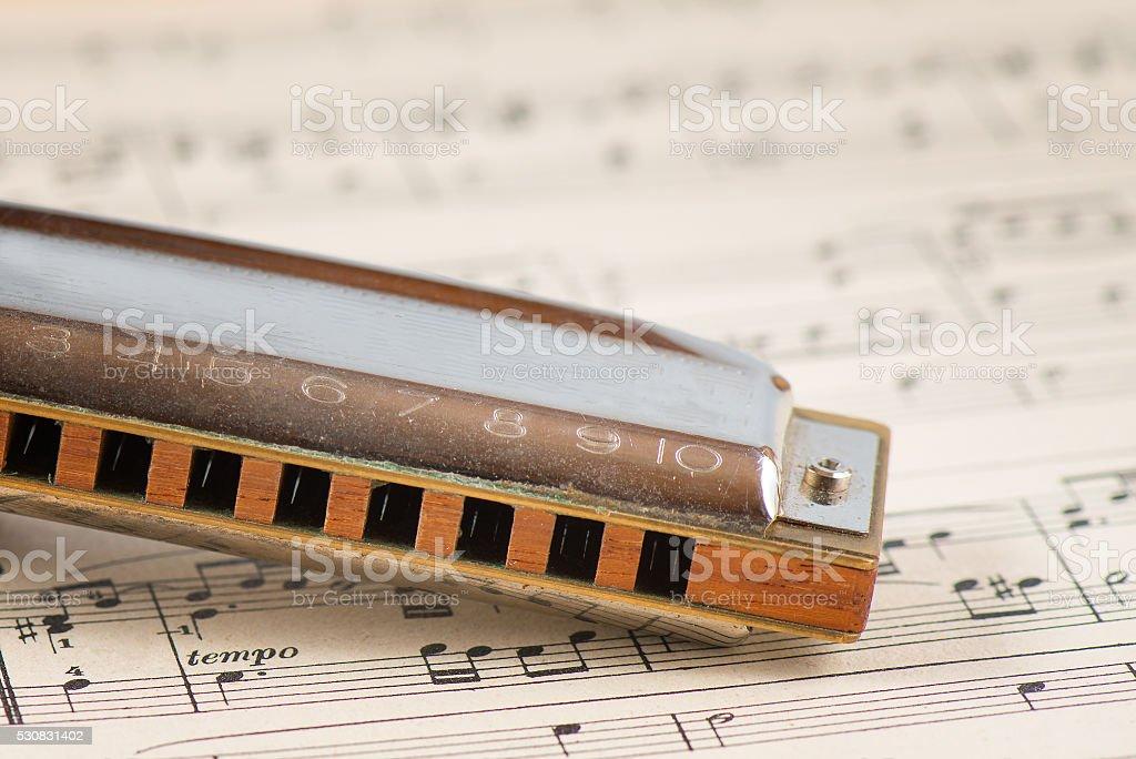 Blues harmonica mouth stock photo