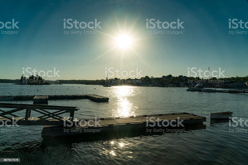 Blues on a Boat Dock at Sunset stock photo