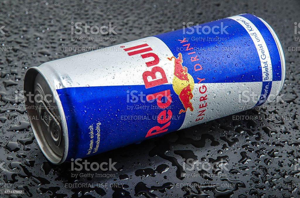 Blue-silver Red Bull can stock photo