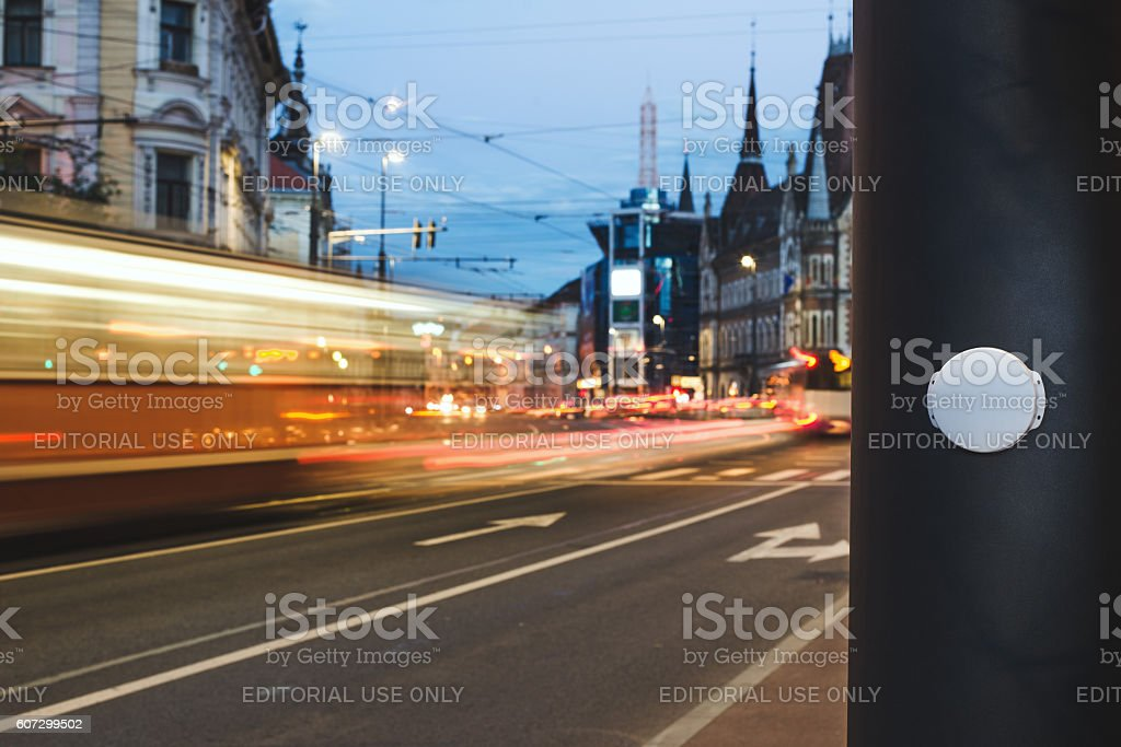 Bluetooth Beacon deployed in a Smart City stock photo