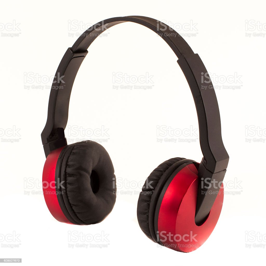 Bluetooth headphones red isolated stock photo