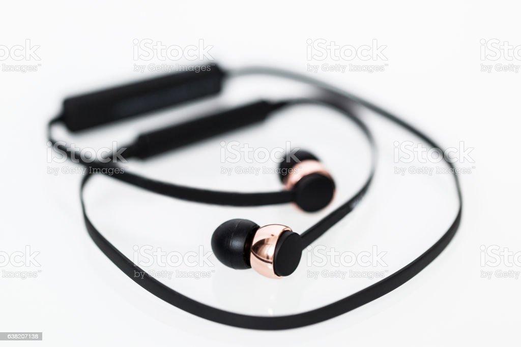 Bluetooth wireless headphones isolated on white stock photo