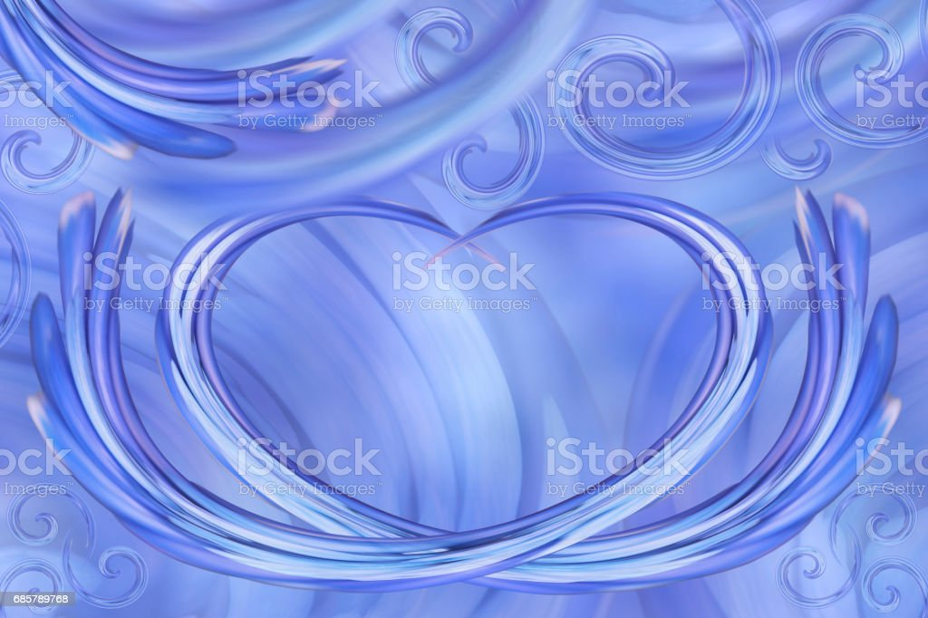 Blue-white background. Curls in the shape of heart. Postcard for the holiday. For design. Abstract background. stock photo