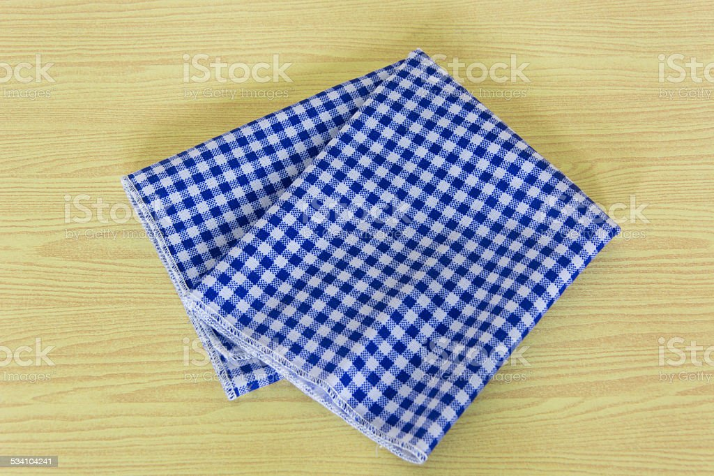 Blue White Checkered Tablecloth In An Old Wooden Table Royalty Free Stock  Photo