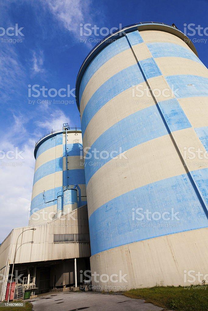 Blue-White Concrete Silos royalty-free stock photo