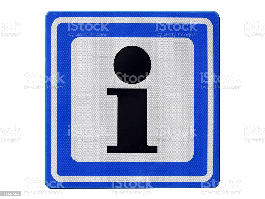 Blue/white square traffic sign with black 'i' inside for Information royalty-free stock photo
