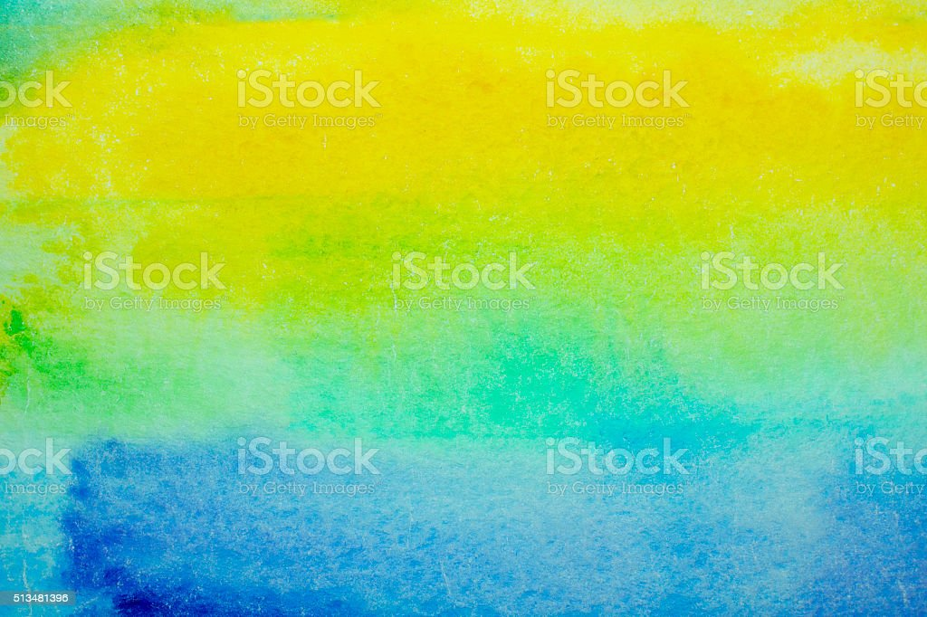 Blue-Yellow Grained Watercolor Background vector art illustration