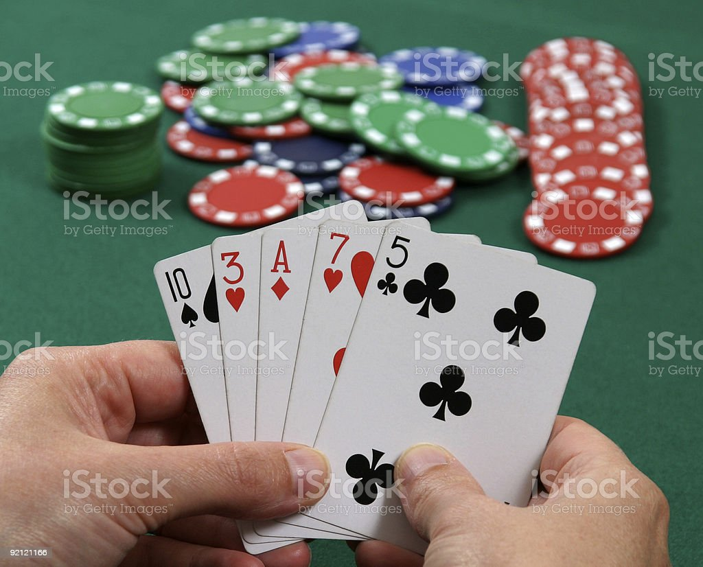 Bluffing at Poker stock photo