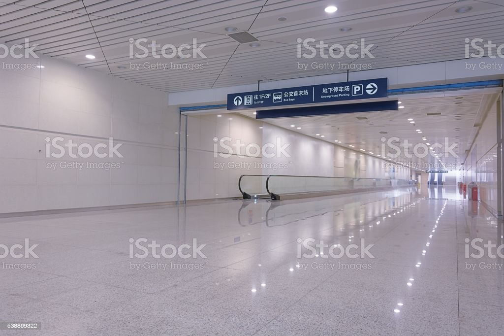 Bluish corridor in a subway stock photo
