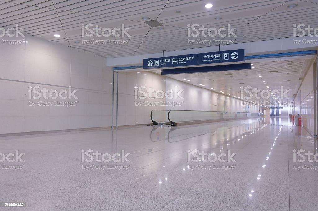 Bluish corridor in a subway stock photo