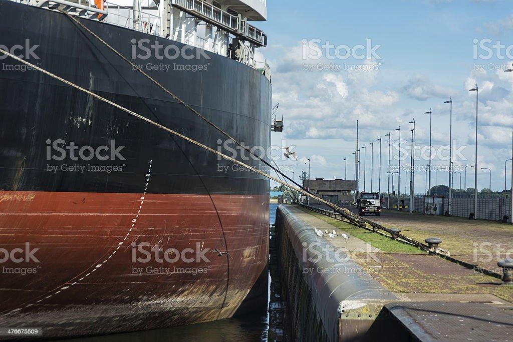Blulk Carrier in Ijmuiden locks just fits stock photo