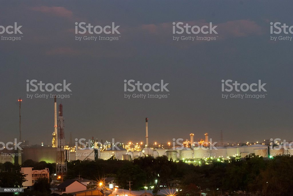 blur background factory industrial and town stock photo