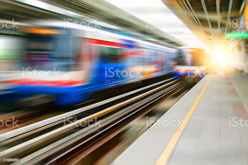 Blur background of modern  skytrain at bangkok,thailand stock photo