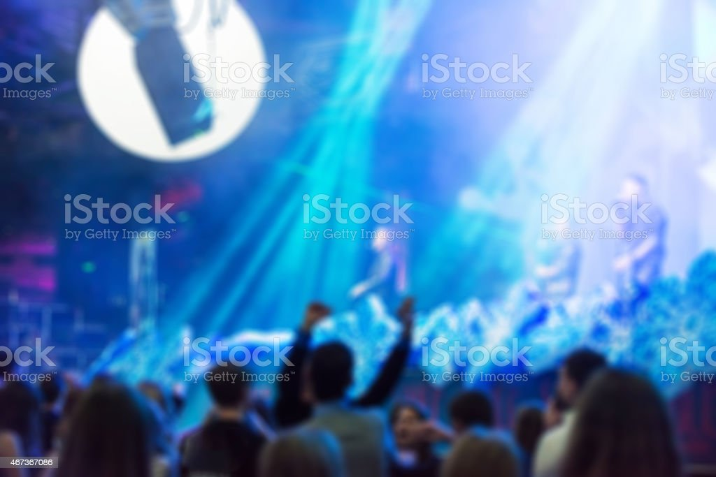 Blur background of people at the dj concert stock photo