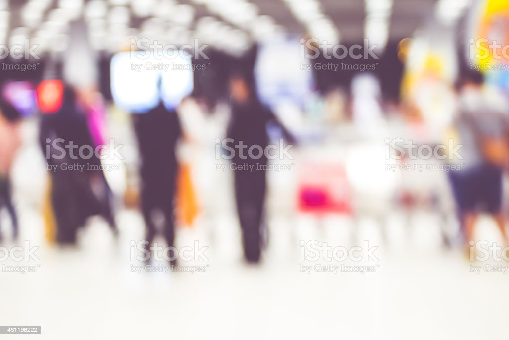 Blur background : passenger airplane waiting for bag at Baggage stock photo