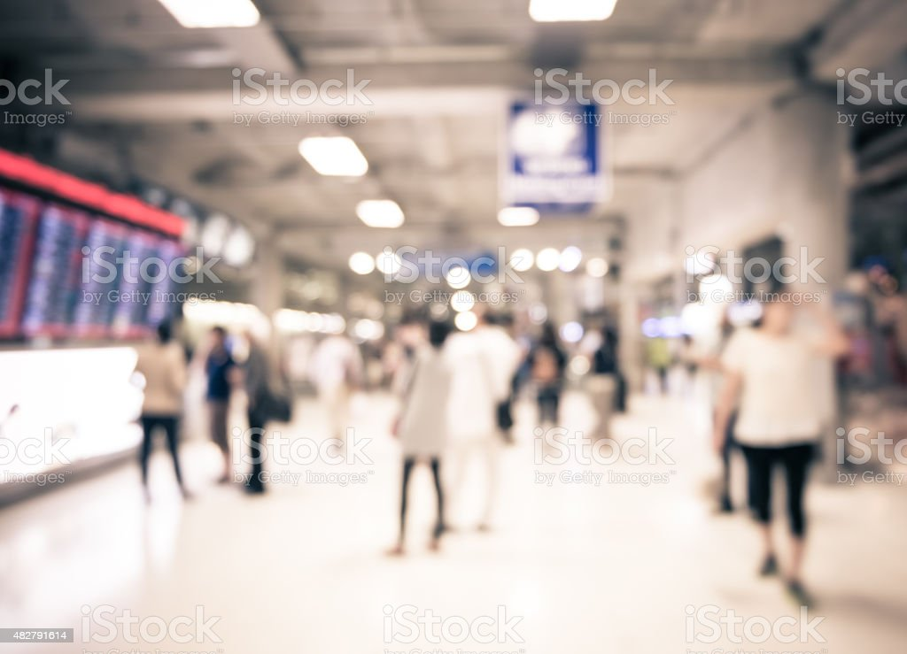 Blur background : People at departure and arrivals electronic sc stock photo