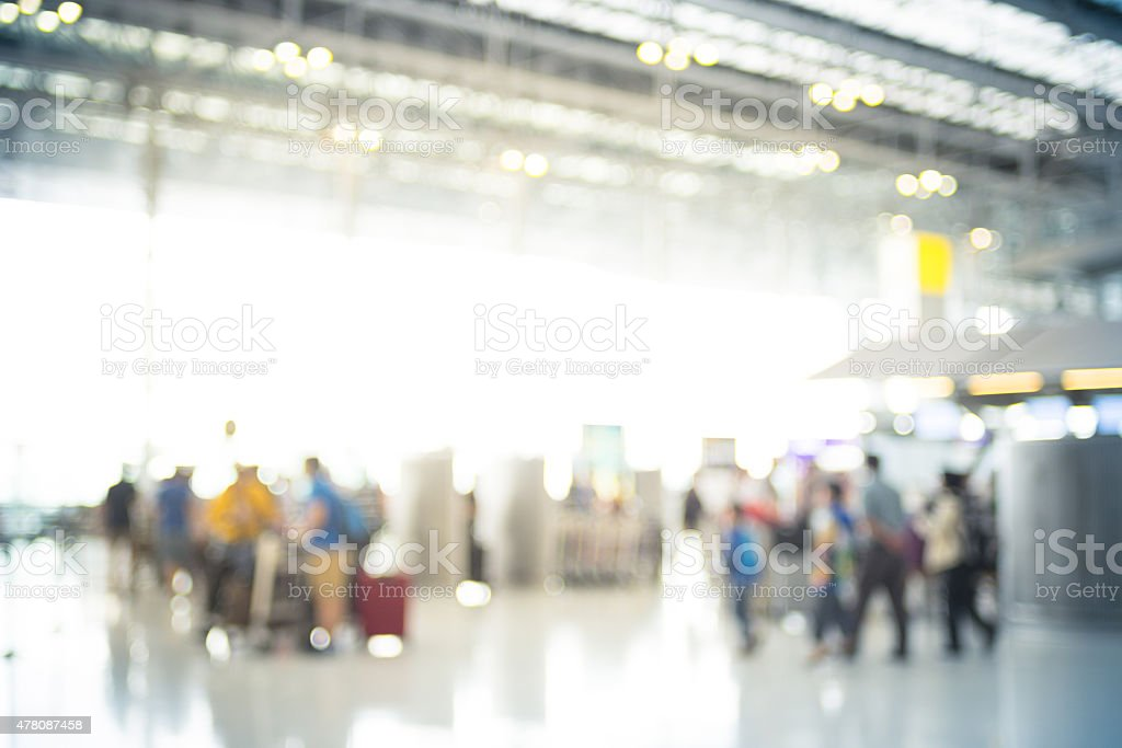 Blur background : Terminal Departure Check-in at airport with bo stock photo