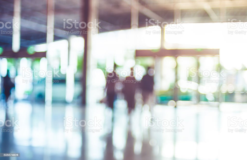 Blur background,Business man walking at corridor in convention h stock photo