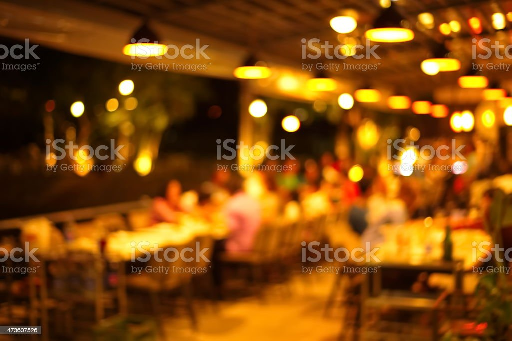 blur bar and resturant at night stock photo