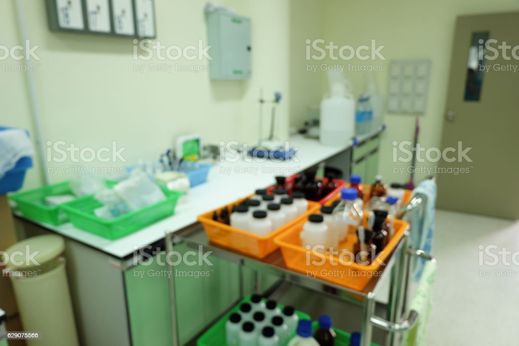 Blur Chemical reagent and scientific equipments stock photo