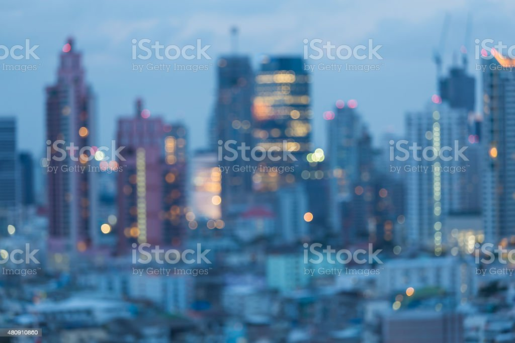 Blur city lights abstract background after sunset stock photo
