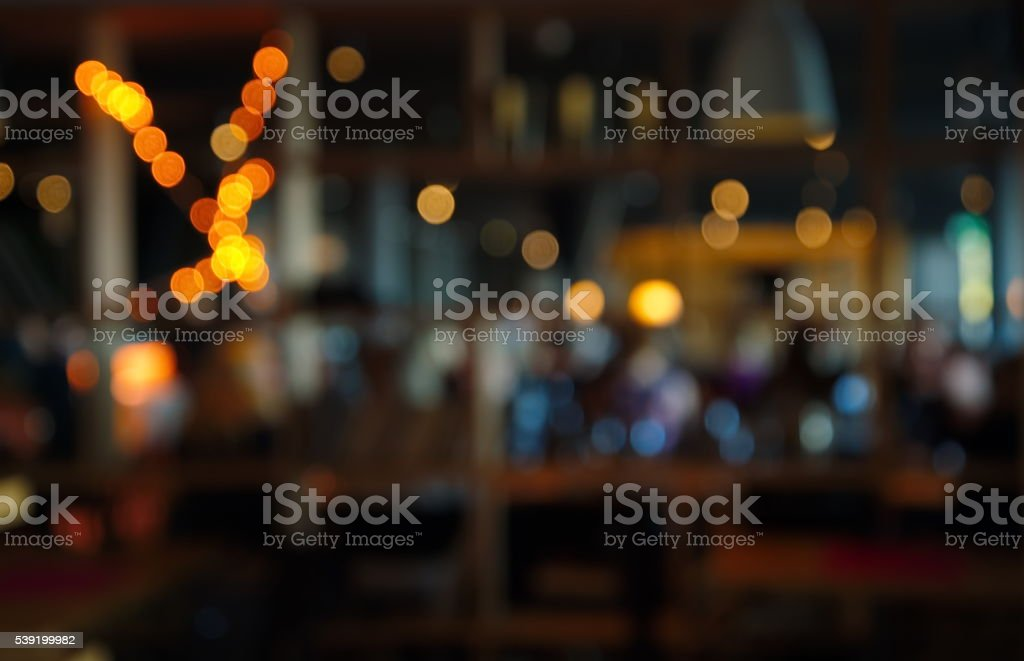 blur dark bar or cafe at night stock photo
