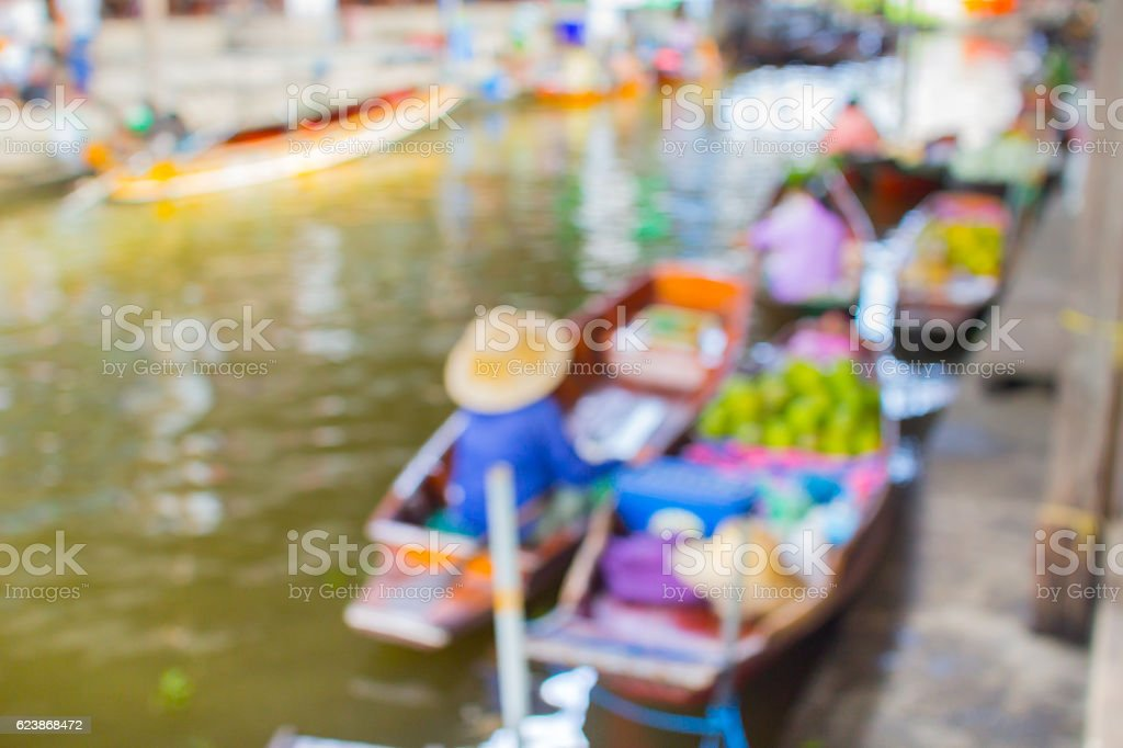 blur floating market for background stock photo