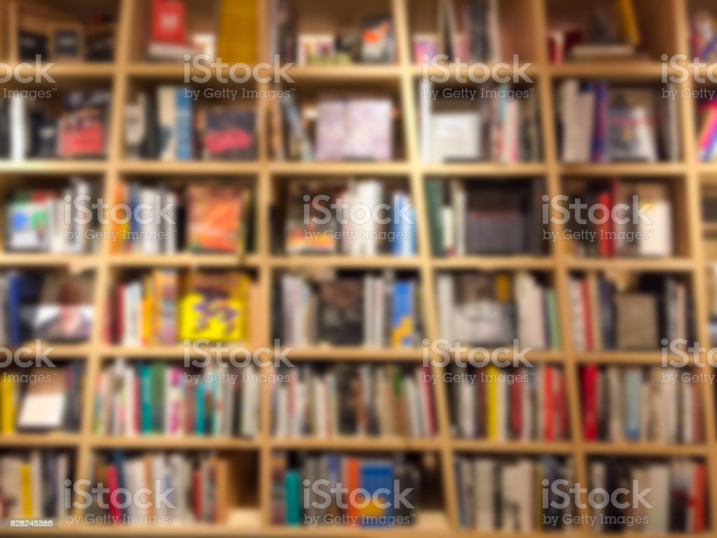 Blur image of a bookstore . stock photo
