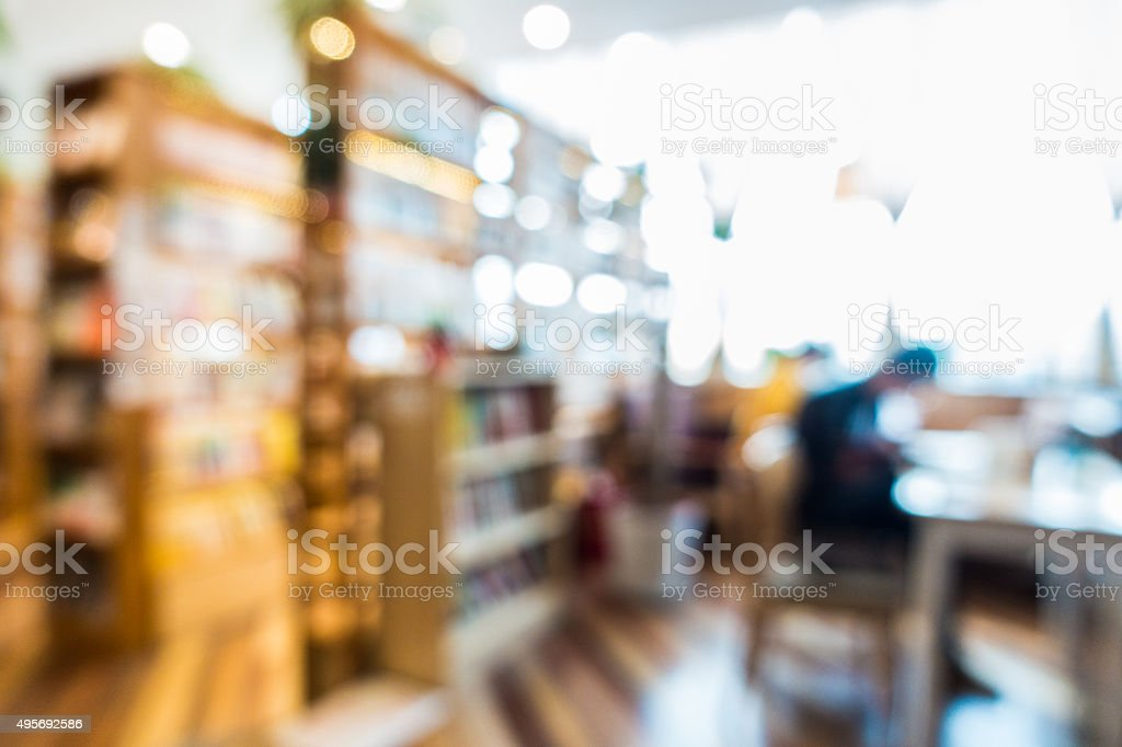 blur image of book store stock photo