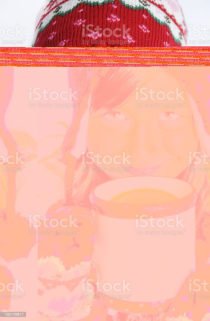 Blur image of girl sipping hot chocolate royalty-free stock photo