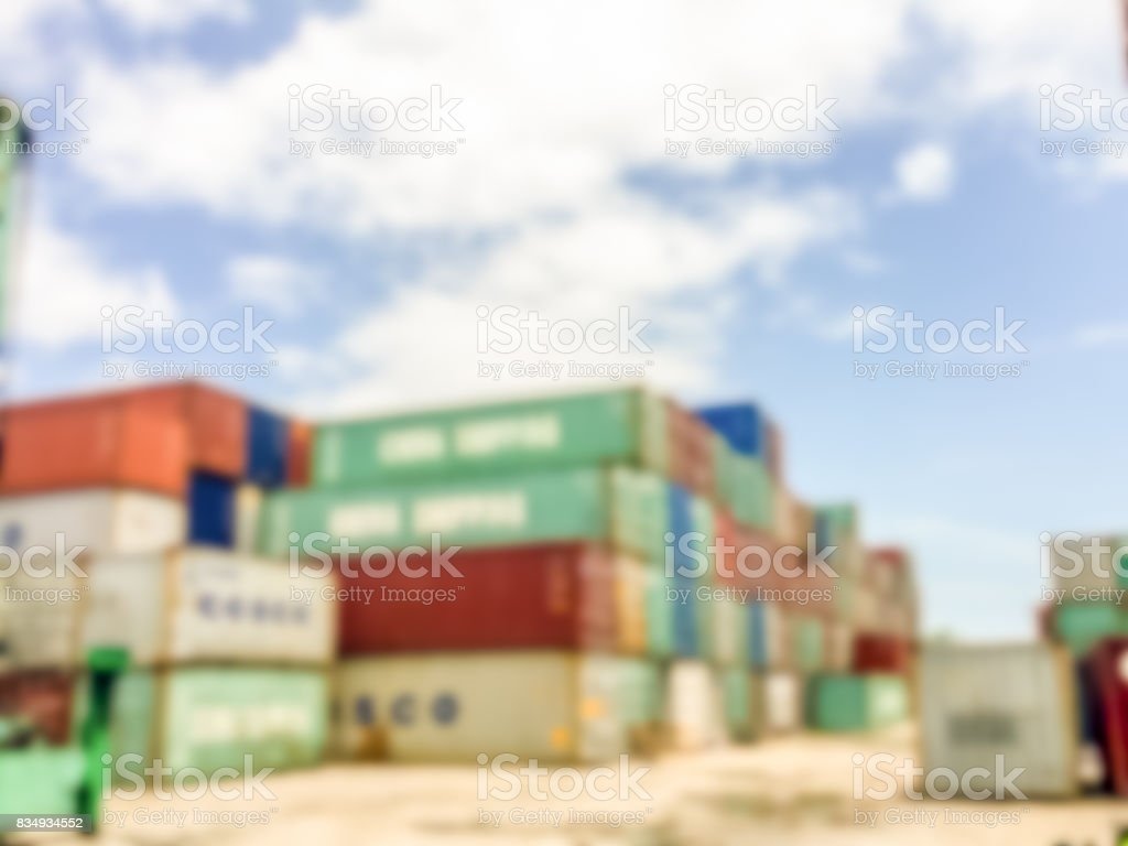 Blur image of Industrial Container yard for Logistic Import Export business stock photo