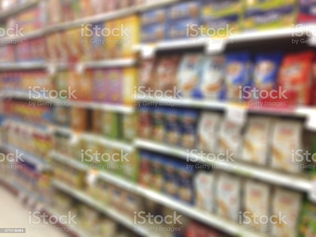 blur image of supermarket for background stock photo