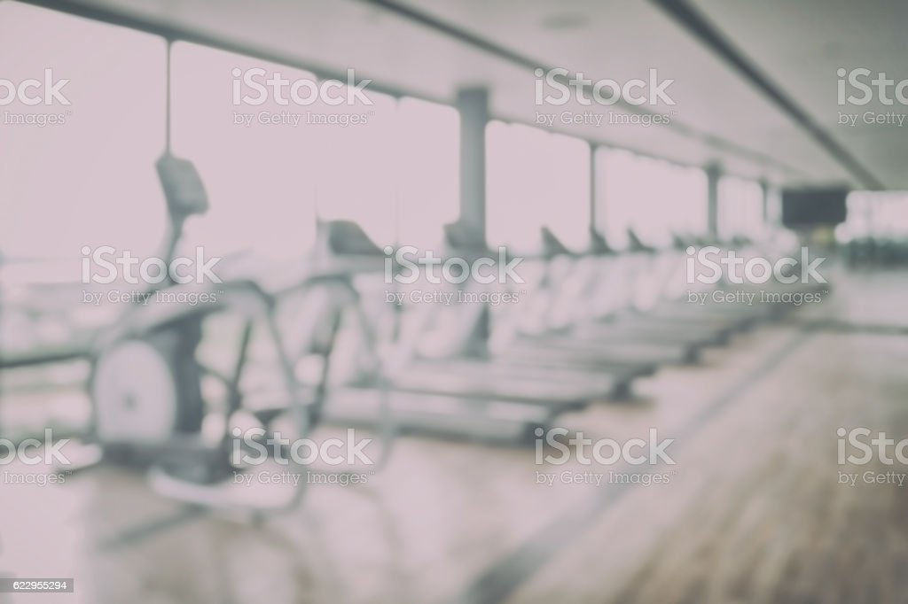 Blur image sport club interior for background stock photo