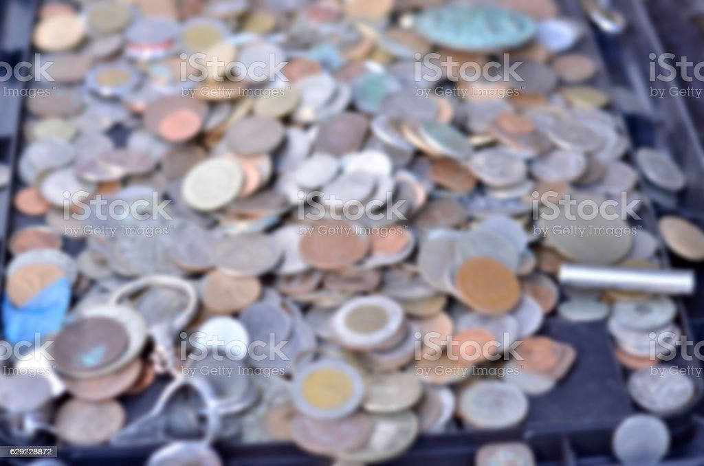 Blur images of old coin stock photo