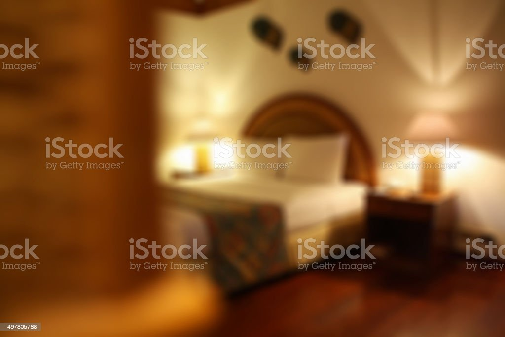 blur Interior of comfortable hotel room stock photo