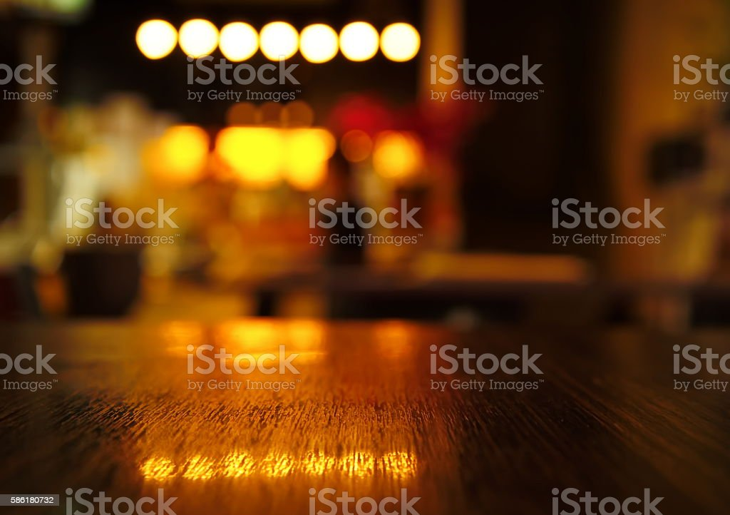 blur light reflection on table in bar at night b stock photo