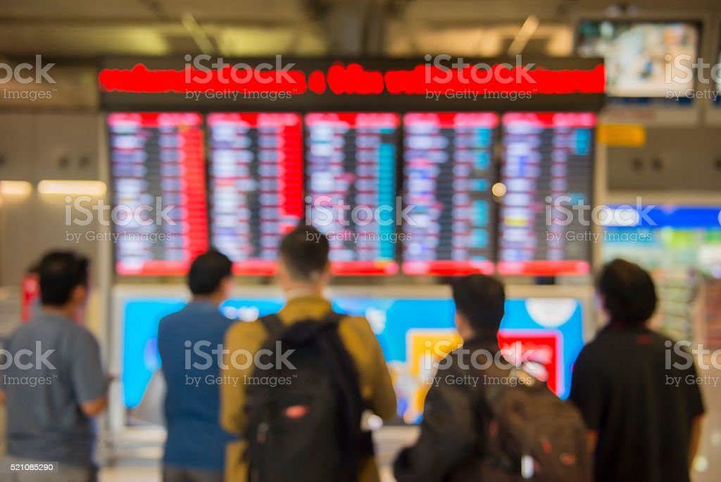 Blur motion abstract of An Airport Departures monitor showing fl stock photo