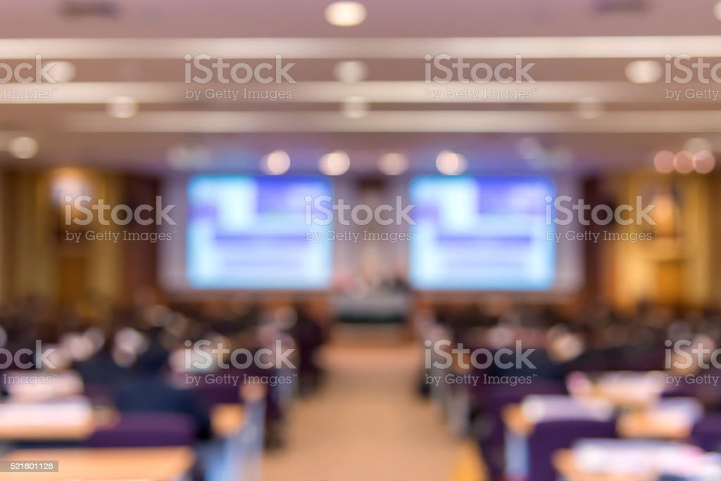 Blur of business Conference and Presentation in hall stock photo