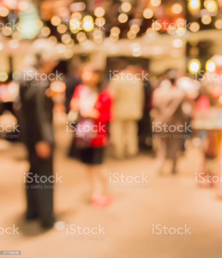 Blur people eating and talking in dining  room, business concept stock photo