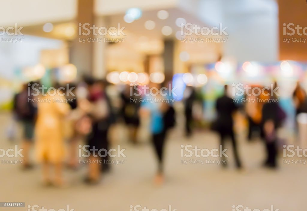 blur people in  dining  room at night stock photo