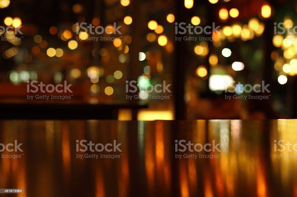 blur reflection light on table in barnight stock photo