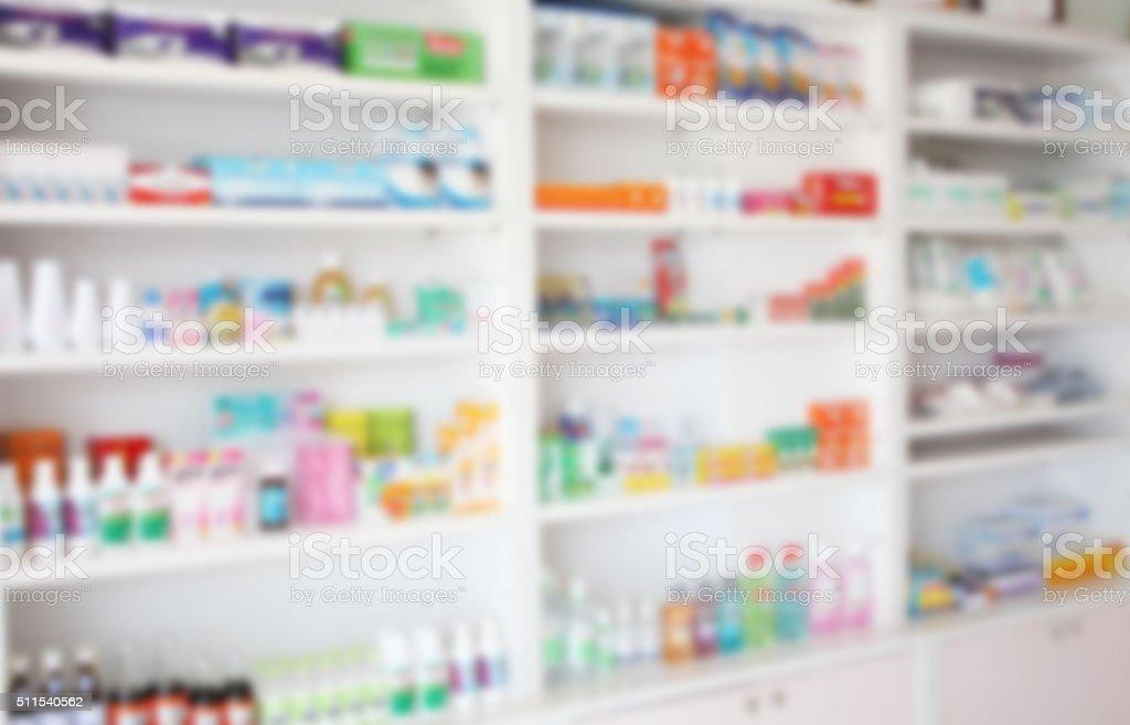 blur shelves of drugs in the pharmacy stock photo