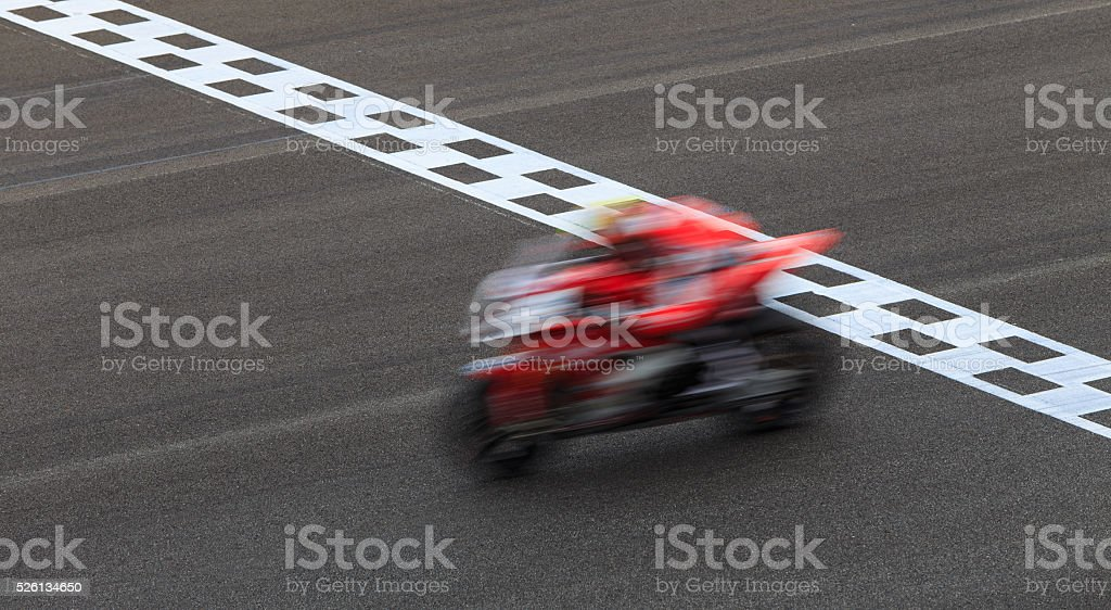 Blur Superbike Crossing Checkered Finish Line stock photo