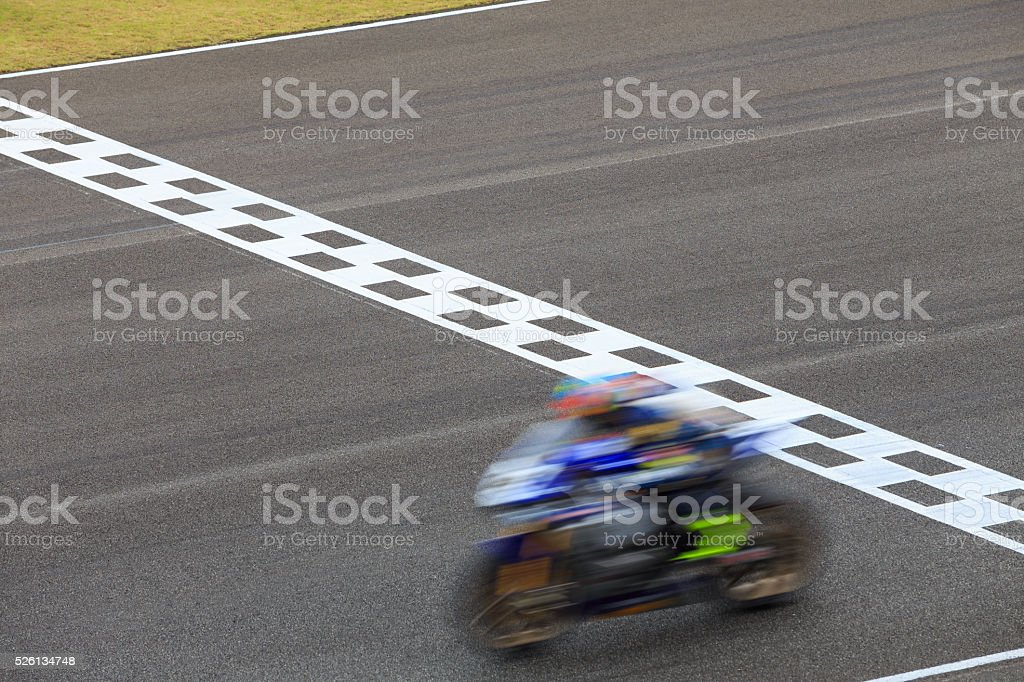 Blur Superbike Crossing Checkered Finish Line stock photo