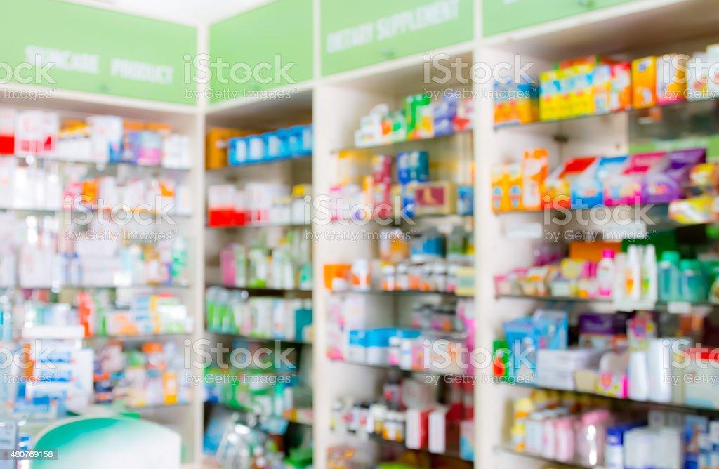 blured, interior of drugstore stock photo